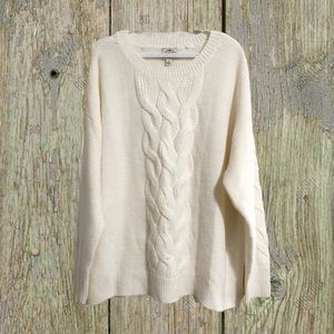 St. John's Bay, cream, cable knit sweater.